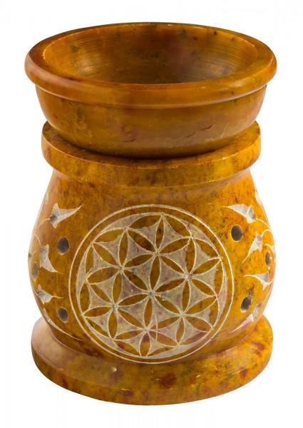 """Aromalampe """"Blume des Lebens des Lebens"""" Speckstein ocker 6x8cm"""