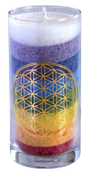 "Kerze ""Rainbow BDL"" im Glas Stearin 14cm"