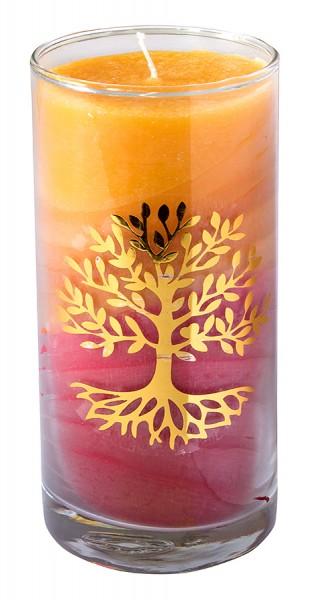 "Kerze ""Sunset Lebensbaum"" im Glas Stearin 14cm"